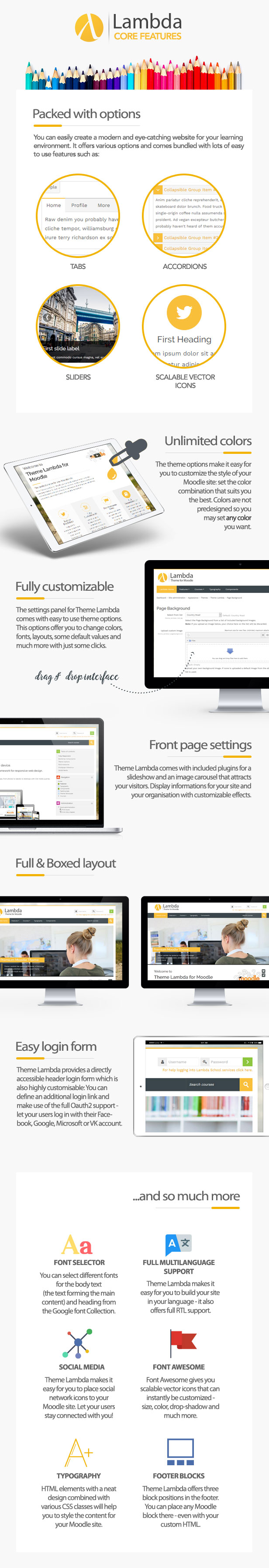 Theme Lambda for Moodle - features